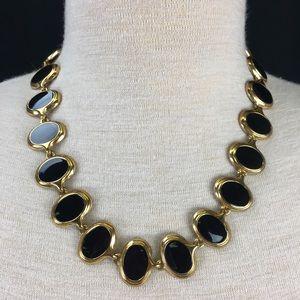 Vintage Gold Tone & Black Enamel Necklace
